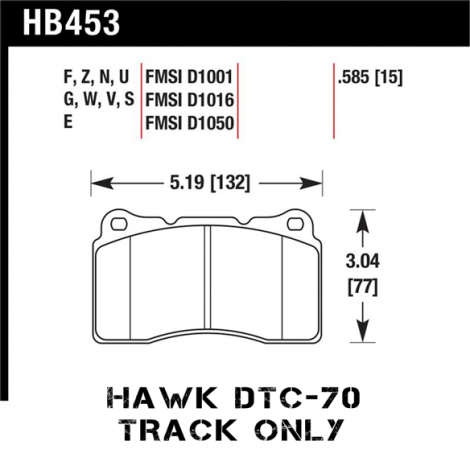 Hawk DTC-70 Racing Front Brake Pads